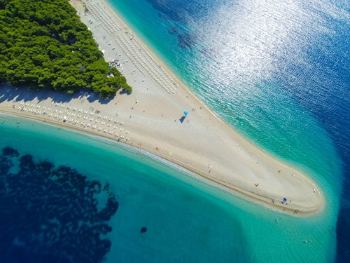 Zlatni Rat beach on Brac Island, Croatia