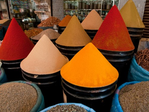 Spices at Fez market, Morocco
