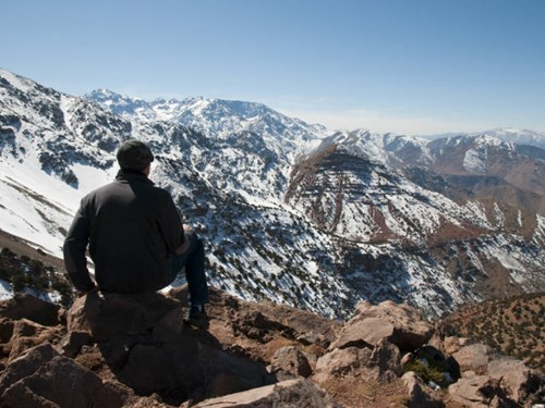 Hiking in the snow-capped Atlas Mountains